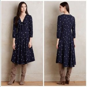 Anthropologie Acadie Tie Neck Dress Navy Floral W6
